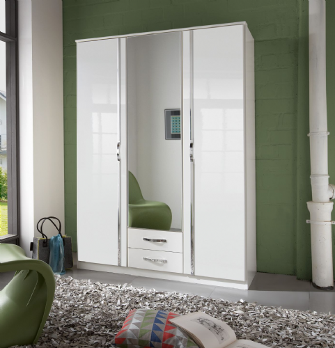 Ivana German White Gloss 3 Door Wardrobe - 2653
